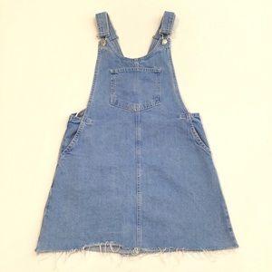 Zara Blue Denim Overall Dress